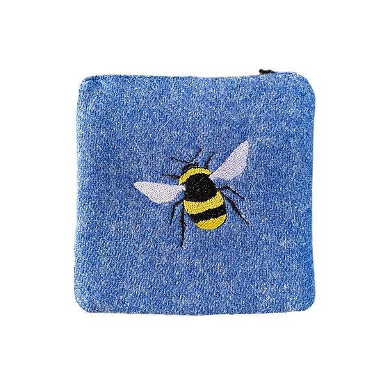 Harris Tweed Blue Embroidered Bee Purse