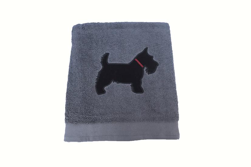 Scottie Dog - Charcoal Grey Bath Towel