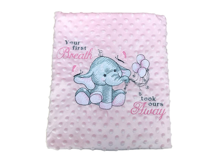 Pink Elephant Pink Baby Sensory Blanket - your 1st breath took ours away