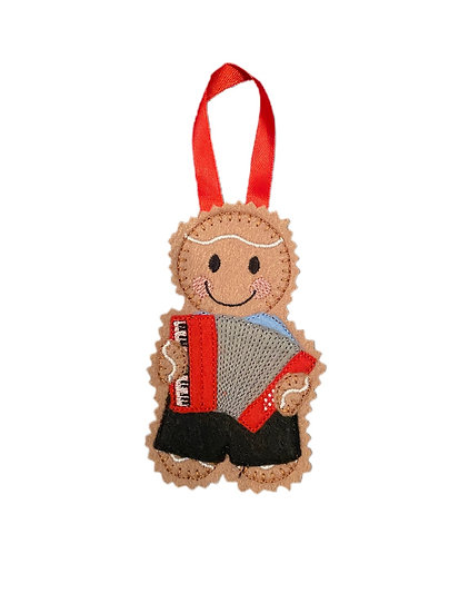 Gingerbread Accordian Player Decoration