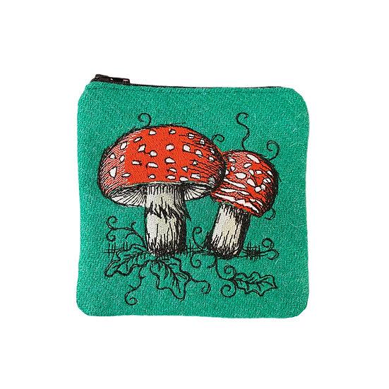 Harris Tweed Jade Green Embroidered Toadstool Purse