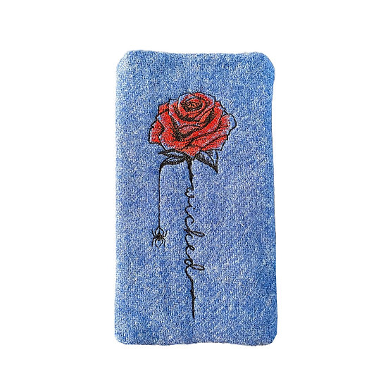 Harris Tweed Blue Embroidered Wicked Rose Glasses Case