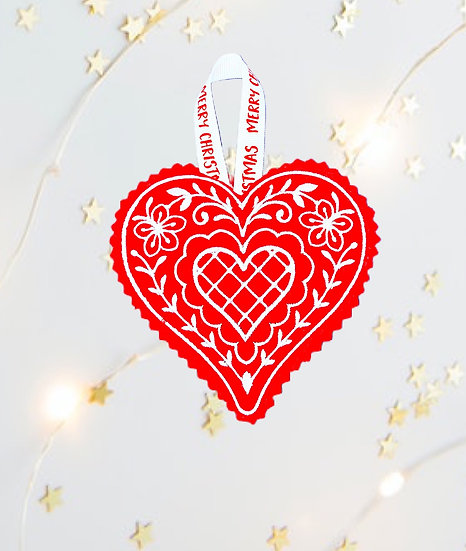 Red & White Heart Christmas Tree Decoration