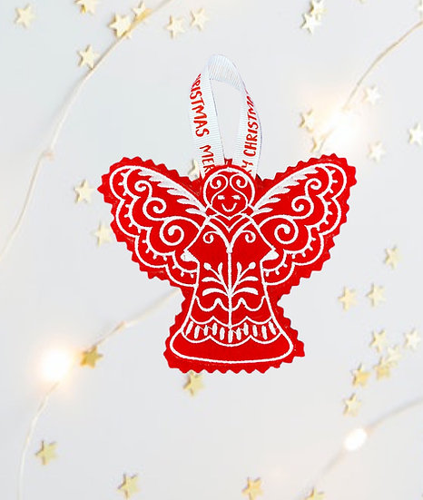 Red & White Angel Christmas Tree  Decoration