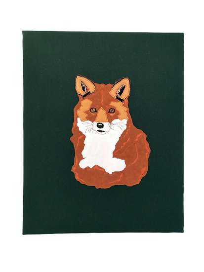Fox Embroidered Canvas Large Wall Art