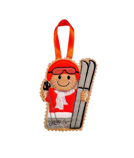 Skiing Gingerbread Man Decoration