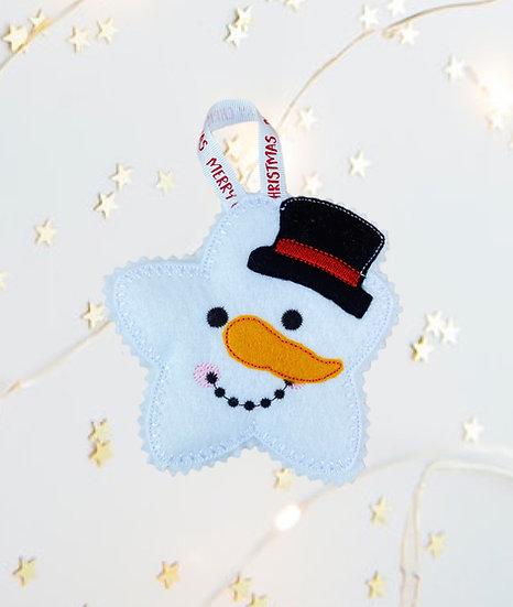 Christmas Kawaii Gingerbread Snowman Star Decoration