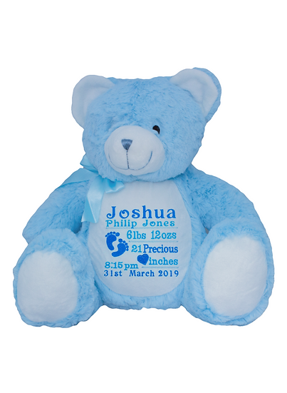 Baby Blue Bear Personalised Soft Toy