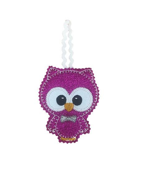 Pink Glitter Felt Owl Decoration