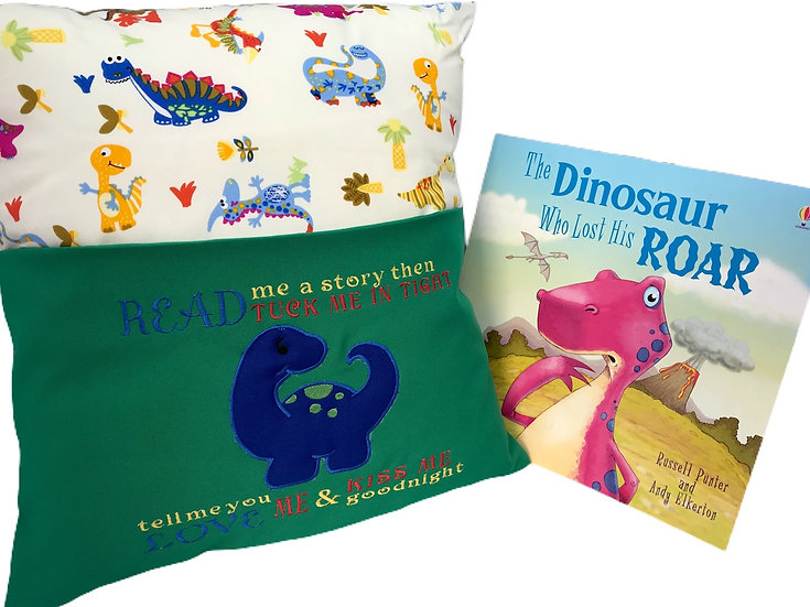 Dinosaur Diplodocus Themed Book Cushion
