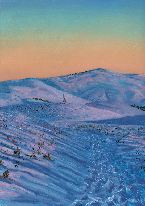 Morning Light on Snow, Moel Famau (original and prints available)