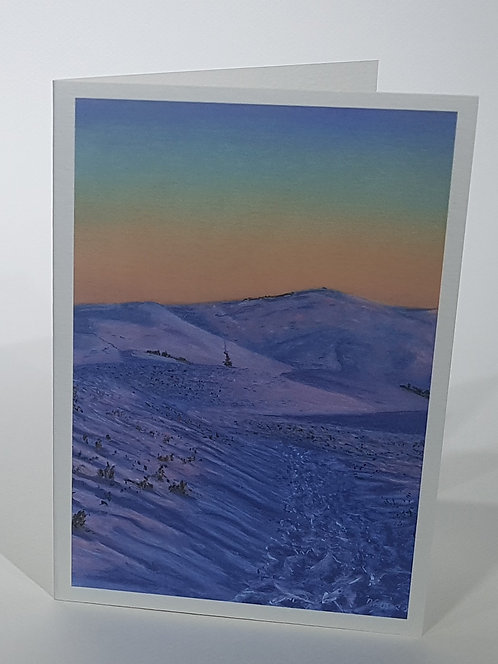 Morning Light on Snow, Moel Famau, Card