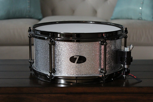 "6"" x 12"" 7drums Custom Snare Drum - Silver Sparkle Wrap"