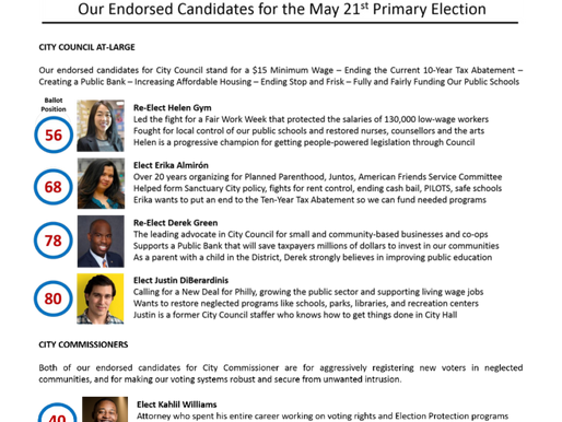 Get Out the Vote for Philly NN's Endorsed Candidates