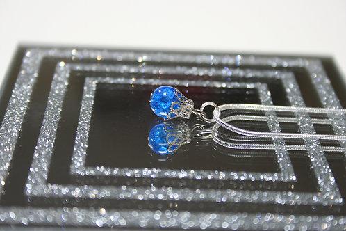 Silver Glass Bead Pendant (Blue)