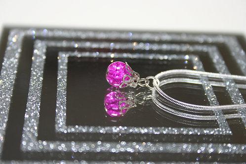 Silver Glass Bead Pendant (Purple)