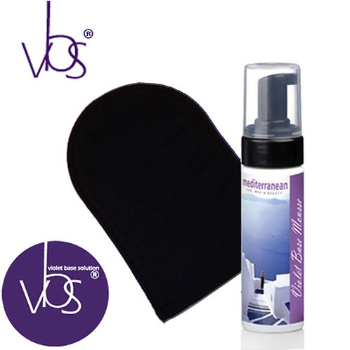 2 HOUR TANNING MOUSSE - VIOLET BASE. INCLUDES FREE MITT