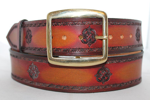 "Red leather belt, Handmade red belt, 1¾"" wide, Made in Ireland, XT17-022"