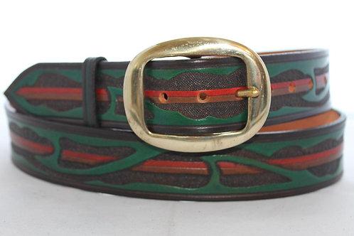 """Beara Belt Hand Tooled, 1½"""" wide, BB039"""
