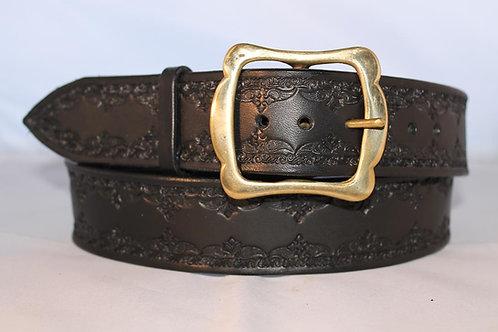 "Handmade tooled black leather belt, 1¾"" wide, Made in Ireland, B17-011"