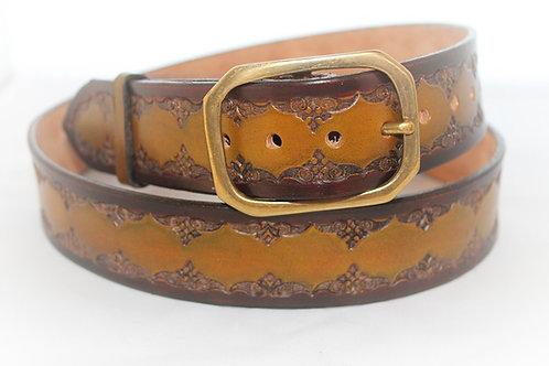 """Light Tan Belt Hand Tooled, 1½"""" wide, XT15-022"""