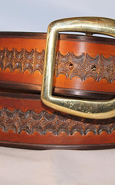 "Handmade tooled leather belt, 1¾"" wide, Made in Ireland"