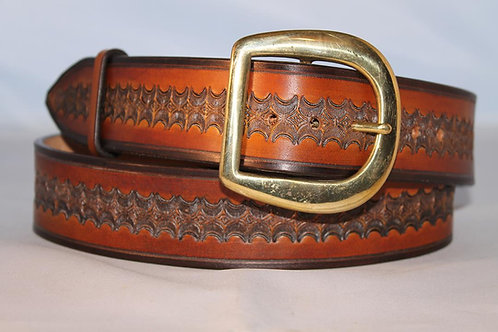 """Handmade tooled leather belt, 1¾"""" wide, Made in Ireland"""