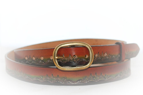 """Brown and Green Belt Hand Tooled, 1"""" (25mm) wide, XT25-015 (right handed belt)"""