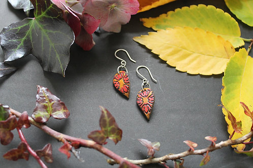 Small Drop Floral Earrings | Handmade small red and burnt Leather Earring