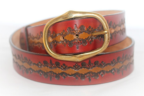 "Red and Tan Belt Hand Tooled, 1½"" wide, XT15-017"