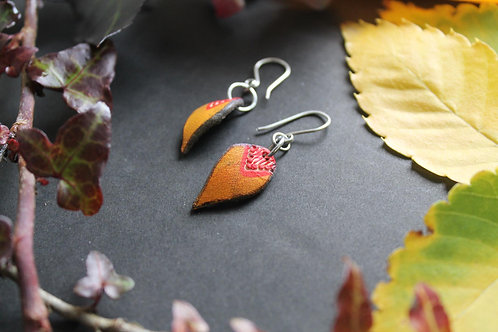 Tribal small drop earrings | Handmade Leather Earrings | Burnt and red