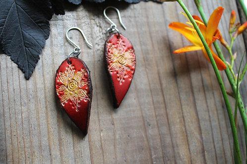 Floral Bright Red Earrings | Leaf shaped Earrings