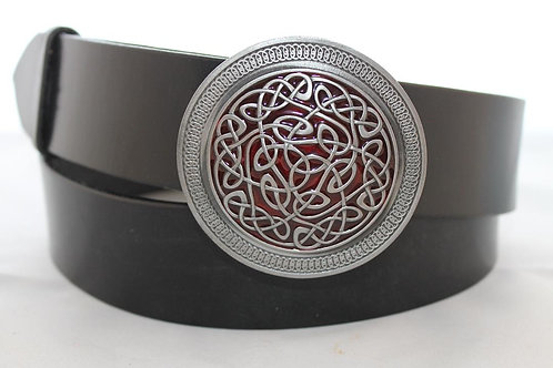 Red Celtic knot Belt buckle | Pewter platted buckle | T1005R