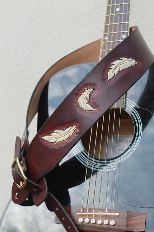 Feathers Guitar strap/ Hand carved guitar strap/ Adjustable solid brass buckle