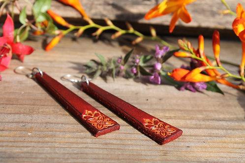 Long Red Floral Earrings | Handmade Long Red Earrings