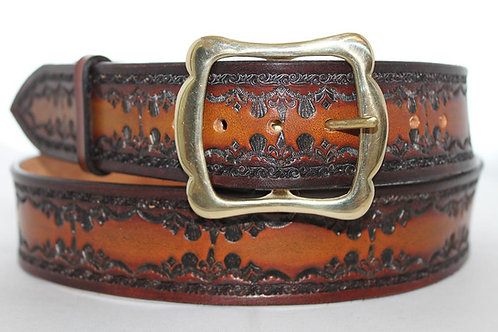 "Brown-Tan leather belt, Handmade belt, 1¾"" wide, Made in Ireland, XT17-024"