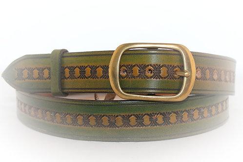 """Green Belt Hand Tooled, 1¼"""" wide, XT12-021"""