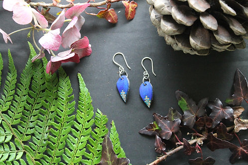 Small Drop Floral Earrings | Handmade Navy and Green Earrings