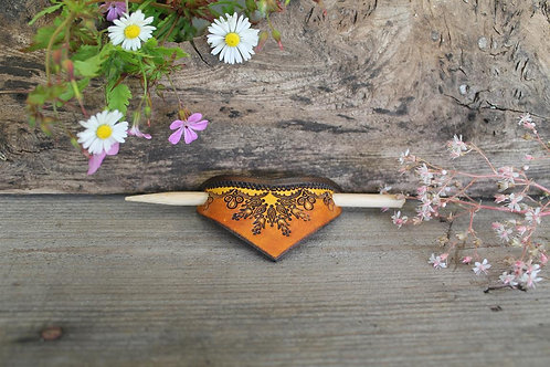 Burnt and Brown Hairslide/ Leather Barrette /Handmade
