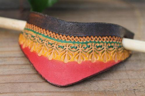 Hair Slide/ Leather Barrette/ Rastafarian colours