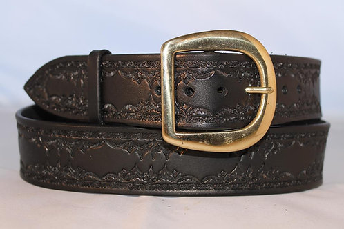 "Handmade tooled black leather belt, 1¾"" wide, Made in Ireland, B17-012"
