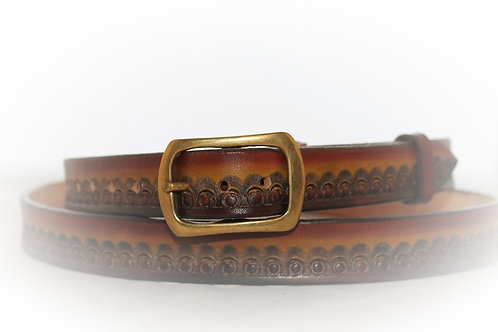 "Tan and brown Belt Hand Tooled, 1"" (25mm) wide, XT25-016 (right handed"