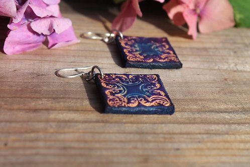 Navy Floral Earrings | Handmade lozenge Leather Earrings