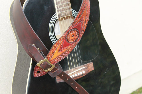 Guitar strap/ Unique Red design/ Hand tooled guitar strap/ Adjustable buckle