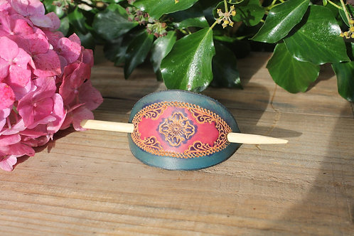 Pink and Blue floral Hairslide/ Leather Barrette /Handmade