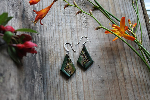 Green Diamond Earrings | Handmade Leather Earrings