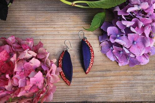 Navy Leaf Red Earrings | Handmade Leather Earring