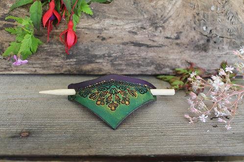 Hair Slide / Leather Barrette / Floral design/ Green-Blue