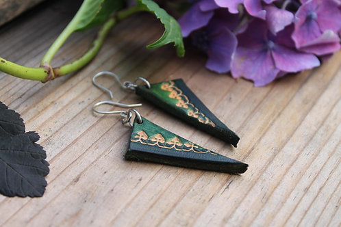 Deep Green Earrings | Handmade triangle Leather Earring