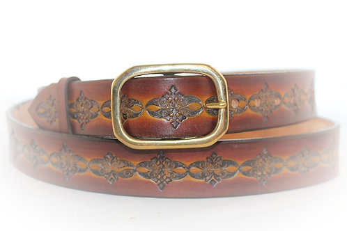 "Brown Belt Hand Tooled, 1¼"" wide, XT25-022"